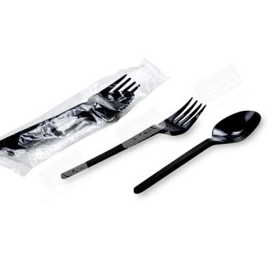 ชุดช้อน-ส้อมพลาสติกดำ แพคในซองพลาสติก