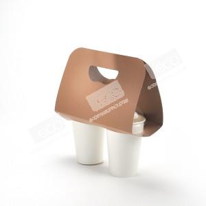 ปลอกกระดาษหิ้วแก้ว 2 ช่อง สีวอลนัท