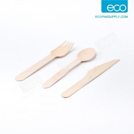 ชุดช้อนไม้+ส้อมไม้+มีดไม้ 16 cm. ในซองใส