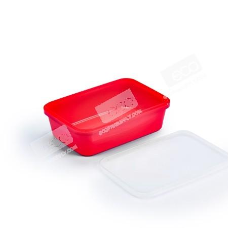 กล่องเซฟตี้ซีลเหลี่ยม PP แดง 650 ml (25 PCS/PACK)