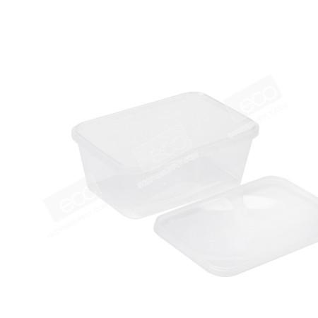 กล่องเซฟตี้ซีลเหลี่ยม PP ใส 1000 ml (25 PCS/PACK)
